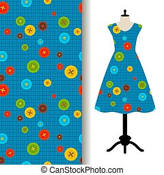 Womens dress fabric with sewing pattern - Womens dress...