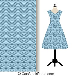Dress fabric with blue royal pattern