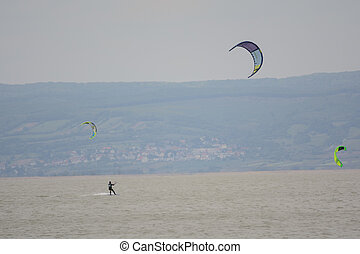 Kitesurfer on Lake Neusiedl - Austria - Watersports...