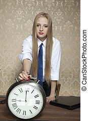 business woman with the clock