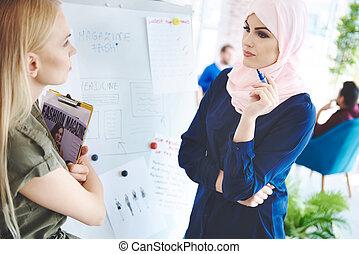 Two business women working on fashion magazine