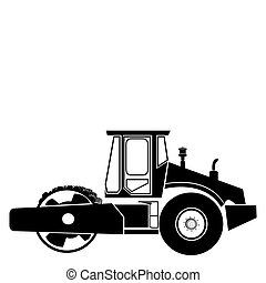 Road roller against white background. Side view.