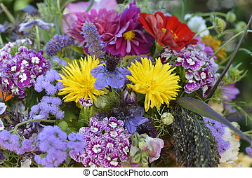 Colourful summer bouquet - close up - This close up of a...