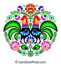 Polish folk art floral embroidery with roosters, traditional...
