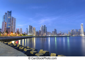 Panama City skyline and Bay of Panama, Central America in...