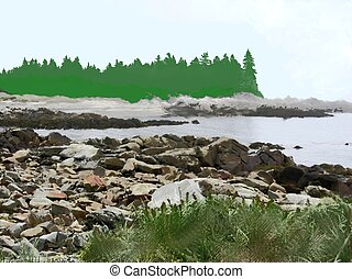 rocky coast inlet painting