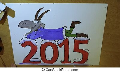 The artist draws Christmas poster with a goat. 4K.