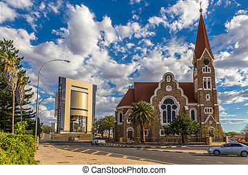 Luteran Christ Church and road with cars in front, Windhoek,...