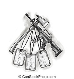 Crossed Fire Ax and M4 Rifle Dog Tags Tattoo