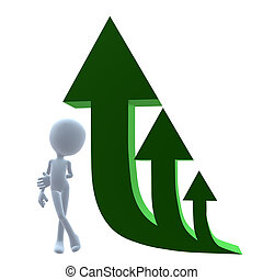 3D Guy Next To Green Arrows - 3D guy next to green arrows on...