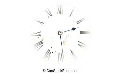 Watch quickly go. Time Lapse Clock. Clock face on white...