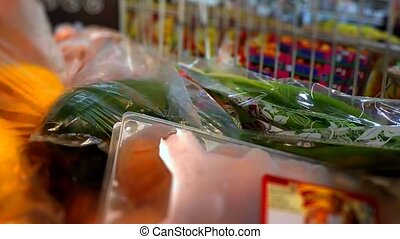 Shopping at the supermarket. Purchase of food. time lapse -...