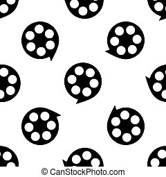 Film reel icon seamless pattern on white background. Vector Illustration