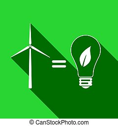 Wind turbine and bulb with leaves as idea of eco-friendly source of energy flat icon with long shadow. Vector Illustration