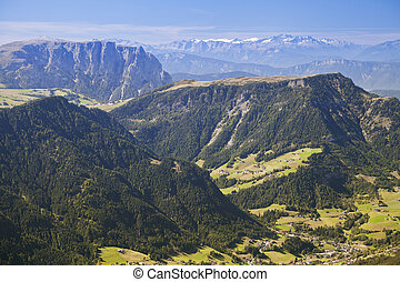 Val Gardena and Ortisei, Dolomites, view from a mountain -...