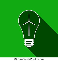 Light bulb with a wind turbines as idea of eco-friendly source of energy flat icon with long shadow. Vector Illustration