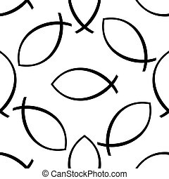 Christian fish icon pattern on white background. Adobe...
