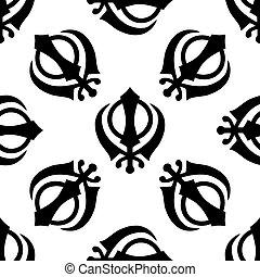 Khanda Sikh icon pattern on white background. Adobe...