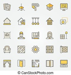 Home interior design colorful icons. Vector set of creative...