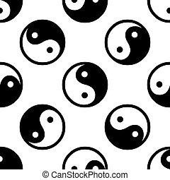Yin Yang symbol icon pattern on white background. Adobe...
