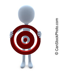 3D Guy With A Bullseye - 3D guy with a bullseye on a white...