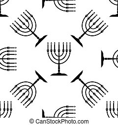 Hanukkah menorah icon pattern on white background. Adobe...