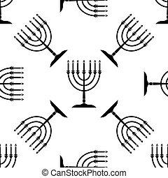 Hanukkah menorah icon pattern on white background. Adobe...