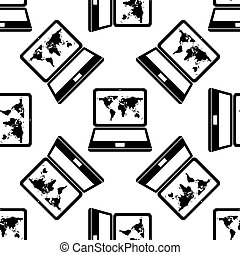 Laptop with world map icon pattern on white background....