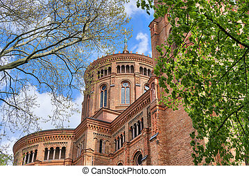 red brick church in spring, Berlin Kreuzberg