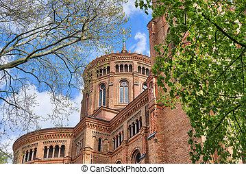red brick church in spring, Berlin Kreuzberg