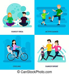 Colorful Sport Family Square Composition - Colorful sport...