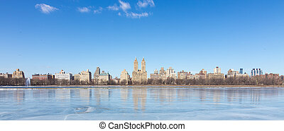 New York City, Central Park with Jacqueline Kennedy Onassis Reservoir.