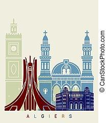 Algiers skyline poster in editable vector file