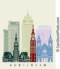 Amsterdam V2 skyline poster in editable vector file
