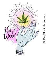 Marijuana leaf in female hand isolated over white background. Sticker, tattoo or print design cannabis vector illustration