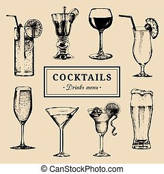 Cocktails menu. Hand sketched alcoholic beverages glasses....
