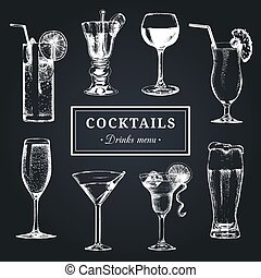 Cocktails menu. Hand sketched alcoholic beverages glasses....