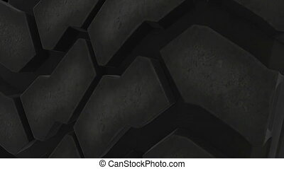 Close up on a car tire in motion. Seamless loop