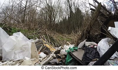 Dump in the forest. Pollution of nature - Pollution of...
