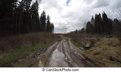 Muddy forest road. Dirty forest road - Dirty forest road....