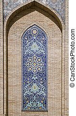 Ornate window niche in the wall, Uzbekistan