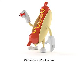 Hot dog character with thumbtack