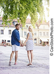 Happy couple at old town