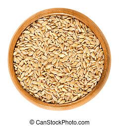 trigo,  einkorn, de madera, encima, tazón, blanco