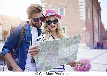 Couple looking at the map