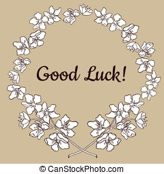 Graphic good luck card with floral frame