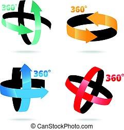 ângulo, sinal, graus,  360, ícone