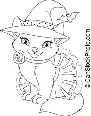 Cat Witch Coloring Page - Cute cat in a witch costume,...