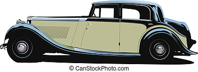 rarity cars fifty ears old Sedan, cabriolet with closed roof...