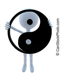 3D Guy With A Yin Yang Symbol - 3D guy with a yin yang...